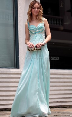 Long Sky Blue Formal Dress with Beadings(GZNZ30662)