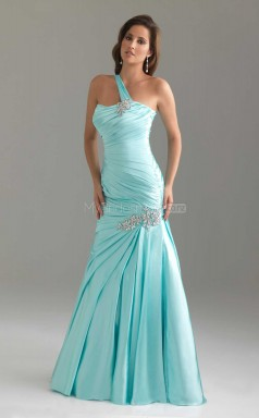 Sky Blue Mermaid Floor-length Chiffon One Shoulder Ball Dresses (NZJT06031)