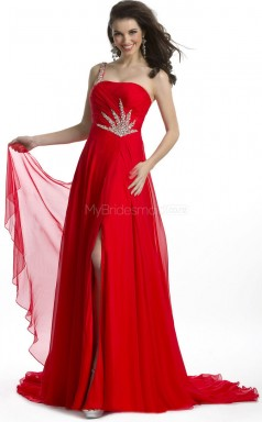 Red A-line Sweep Train Silk Like Chiffon One Shoulder Ball Dresses (NZJT06034)
