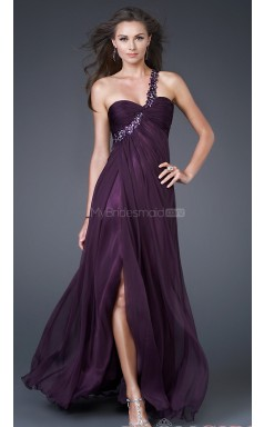 Silk Like Chiffon A-line One Shoulder Floor-length Grape Ball Dresses (NZJT06038)