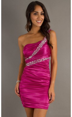 Fuchsia Sheath Short Stretch Satin One Shoulder Ball Dresses (NZJT06039)