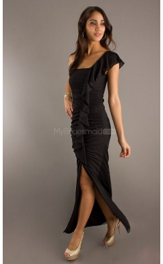 Black Sheath Ankle-length Chiffon One Shoulder Ball Dresses (NZJT06063)