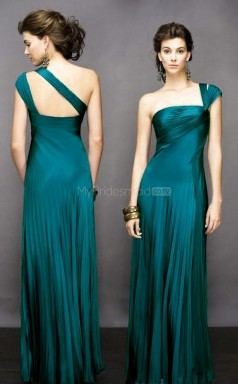 Ink Blue A-line Floor-length Chiffon One Shoulder Ball Dresses (NZJT06067)
