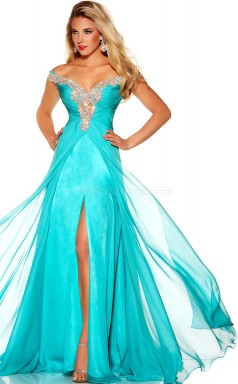 Silk Like Chiffon A-line Off The Shoulder Floor-length Pool Ball Dresses (NZJT06086)