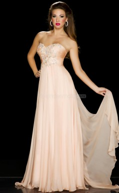 Silk Like Chiffon A-line Sweetheart Sweep Train Pearl Pink Ball Dresses (NZJT06116)