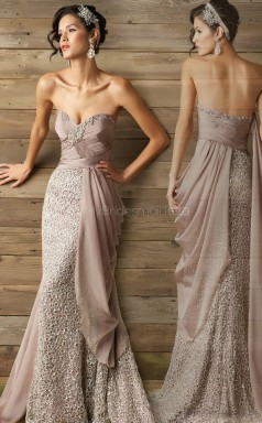 Lace Mermaid Sweetheart Sweep Train Nude Pink Ball Dresses (NZJT06125)