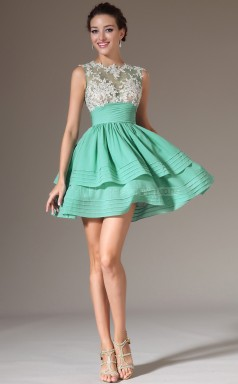 Teenage Chiffon and Lace Light Green Short Bridesmaid Dress NZJT061342