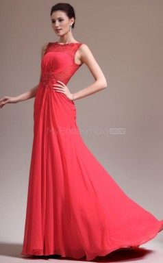 Mermaid Chiffon and Lace Long Red Bridesmaid Dress NZJT061351
