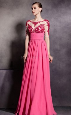 Classic Chiffon and Lace Fuchsia Long Bridesmaid Dress with Short Sleeves NZJT061359