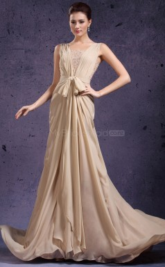 Vintage Chiffon and Lace Dropped waist Champagne Long Bridesmaid Dress NZJT061382