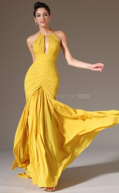 Classic Yellow Halter Chiffon Bridesmaid Dress NZJT061403