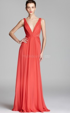 Watermelon A-line V-neck Chiffon Long Ball Dresses (NZJT06179)