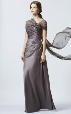 Dark Gray Sheath Off The Shoulder Chiffon Long Ball Dresses (NZJT06201)