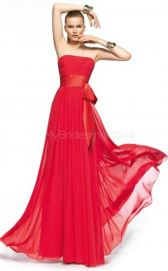 Silk Like Chiffon A-line Strapless Floor-length Red Ball Dresses (NZJT06307)