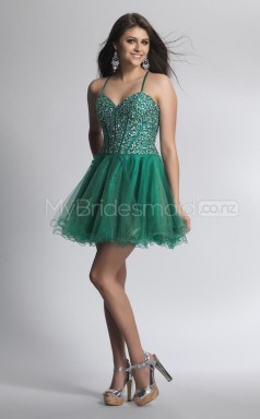 Organza Princess Straps Short Dark Green Ball Dresses (NZJT06423)