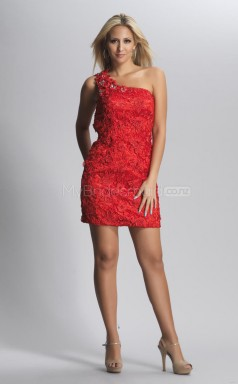 Ruby Sheath Short Lace One Shoulder Ball Dresses (NZJT06434)