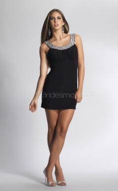 Black Sheath Square Chiffon Short Ball Dresses (NZJT06444)