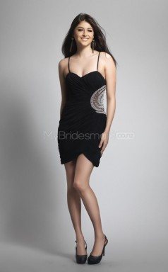 Black Sheath Straps Chiffon Short Ball Dresses (NZJT06449)