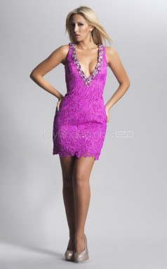 Lace Sheath V-neck Short Dark Lilac Ball Dresses (NZJT06452)