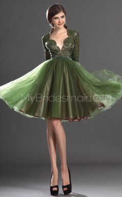 Organza Princess Scalloped Neckline Short Clover Vintage Ball Dresses (NZJT06464)