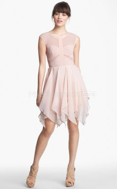 Chiffon A-line Jewel Asymmetrical Blushing Pink Ball Dresses (NZJT06492)