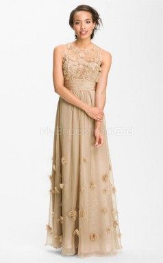 Champagne A-line Jewel Organza Long Ball Dresses (NZJT06496)