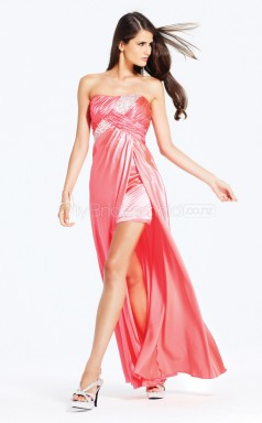 Watermelon Sheath Strapless Satin Chiffon Long Ball Dresses (NZJT06516)