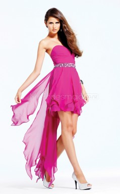 Fuchsia Chiffon A-line Sweetheart Asymmetrical School Ball Gowns(NZJT06518)