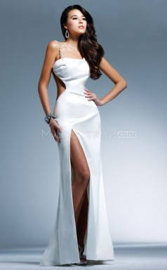Satin Sheath Scoop Sweep Train White Ball Dresses (NZJT06519)