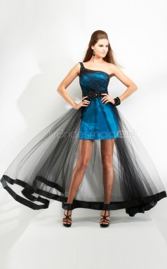 Pool A-line Sweep Train Tulle Satin One Shoulder Ball Dresses (NZJT06524)