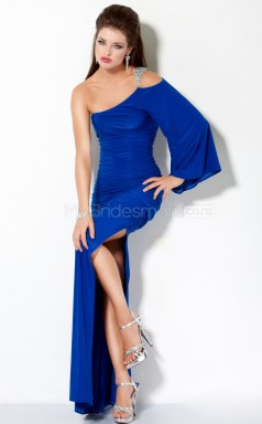 Royal Blue Sheath Sweep Train Knitwear One Shoulder Ball Dresses (NZJT06547)