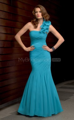 Turquoise Mermaid Floor-length Chiffon One Shoulder Ball Dresses (NZJT06627)