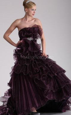 Organza A-line Strapless Court Train Grape Ball Dresses (NZJT06687)