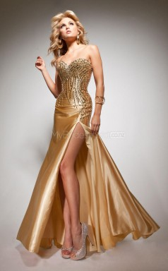 Stretch Satin Mermaid Sweetheart Sweep Train Gold Ball Dresses (NZJT06758)