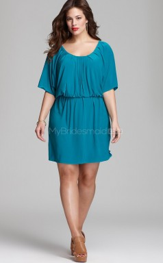 Sheath Short Pool Satin Chiffon Plus Size Bridesmaid Dresses With Sleeves(NZPSD06-006)