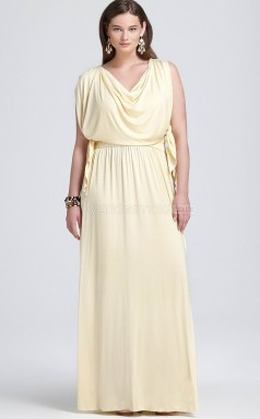Sheath Daffodil Chiffon Long Plus Size Bridesmaid Dress With Sleeves (NZPSD06-007)