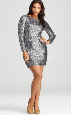 Sheath Short Silver Sequined Silver Plus Size Dresses With Sleeves (NZPSD06-009)