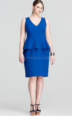 Sheath V-neck Ocean Blue Satin Knee-length  Plus Size Dresses (NZPSD06-010)