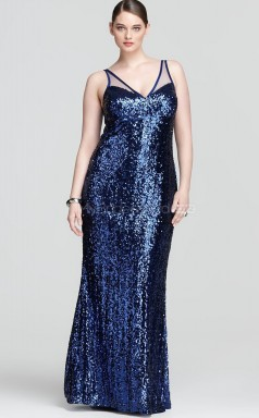 Floor-length Sheath/Column V-neck Royal Blue Sequined Plus Size Dresses (NZPSD06-012)
