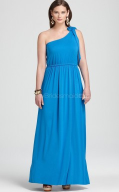 Chiffon One Shoulder Long Ocean Blue A-line Plus Size Dresses (NZPSD06-014)