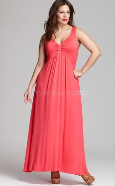 Watermelon Chiffon Floor Length V-Neck  Plus Size Bridesmaid Dress (NZPSD06-017)