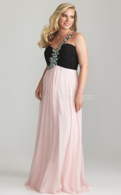 Plus Size One Shoulder Blushing Pink Chiffon Long Bridesmaid Dress (NZPSD06-026)