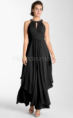 Black Satin Chiffon Jewel Neck Ankle-length Plus Size Bridesmaid Dress (NZPSD06-029)