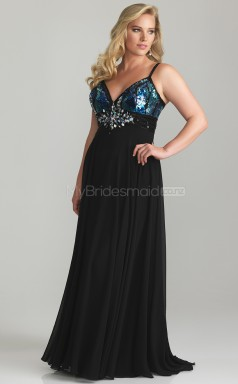 A-line Black Chiffon and Sequined  V-neck Long Plus Size Bridesmaid Dresses (NZPSD06-033)