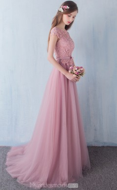Elegant Tulle and Lace Nude Pink A Line Long Scoop Ball Gowns with Short Sleeves NZTB06040