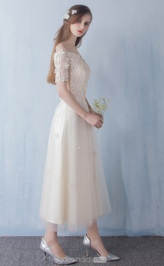 Vintage Ankle Length Off The Shoulder Champagne Organza A Line Ball Gowns with Short Sleeves NZTB06044