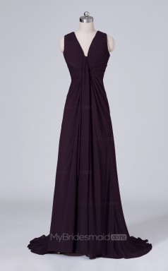 Velvet Chiffon A Line Long Dark Purple V Neck Wholesale Clearance Price Bridesmaid Dress BD-NZS512