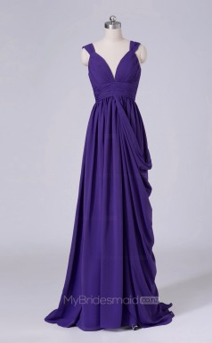 Long V Neck A Line Regency Chiffon Wholesale Clearance Price Bridesmaid Dress BD-NZS540