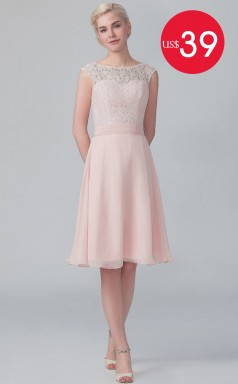 $39 Black Friday Big Sale Pink Short Lace and Chiffon Bridesmaid Dresses BDNZ-T1567