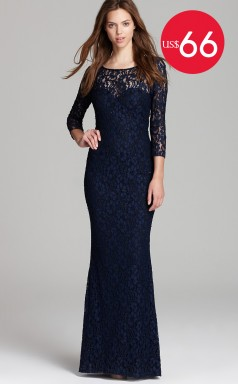 Special Offer Lace Sheath Long Bridesmaid Dress with Long Sleeves (JTNZ-T154)
